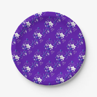 Blue and Purple Happy New Year Shooting Stars Paper Plate