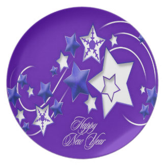 Blue and Purple Happy New Year Shooting Stars Plate