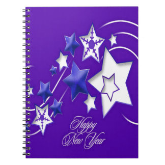 Blue and Purple Happy New Year Shooting Stars Spiral Notebook