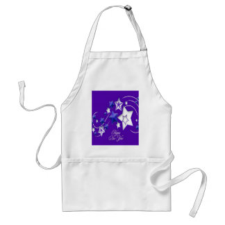 Blue and Purple Happy New Year Shooting Stars Standard Apron