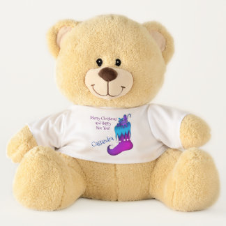 Blue and purple holiday design large teddy bear