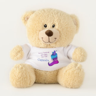 Blue and purple holiday design teddy bear