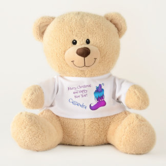Blue and purple holiday design with name teddy bear