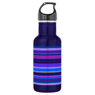 Blue and purple horizontal stripes 532 ml water bottle