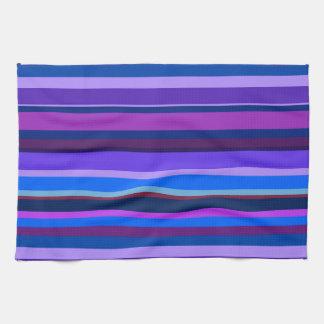 Blue and purple horizontal stripes tea towel