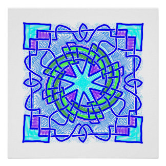 Blue and purple knotwork tile with spiral poster