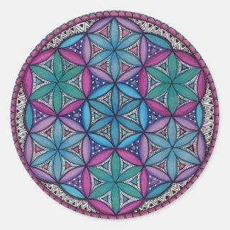 Blue and purple mandala classic round sticker