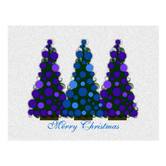 Blue and Purple Merry Christmas Tree Postcard