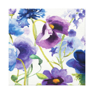 Blue and Purple Mixed Garden Canvas Print
