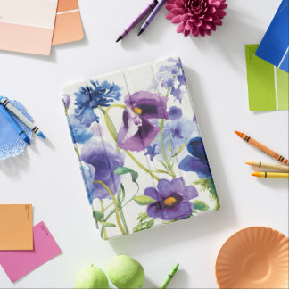 Blue and Purple Mixed Garden iPad Cover
