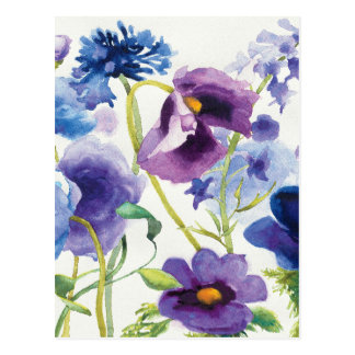 Blue and Purple Mixed Garden Postcard