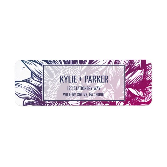 Blue and Purple Ombre Sunflowers Wedding Return Address Label