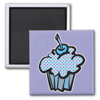blue and purple polka dots cupcake square magnet