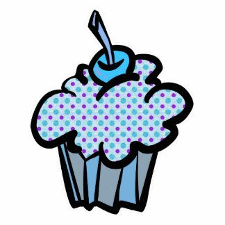 blue and purple polka dots cupcake photo cut out