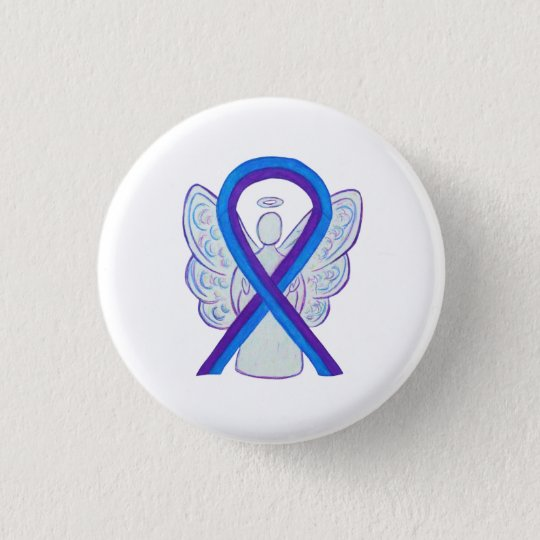 Blue and Purple Ribbon Awareness Angel Pins