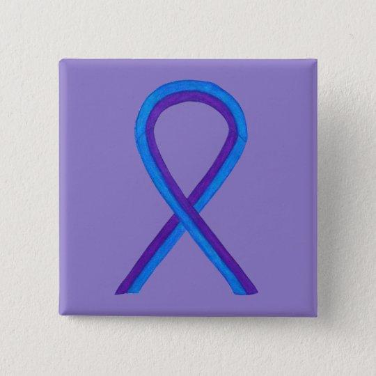 Blue and Purple Ribbon Awareness Custom Pin