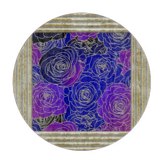 Blue And Purple Roses Cutting Board