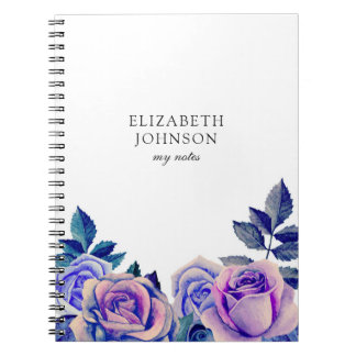 Blue and purple roses. Watercolor flowers Notebooks