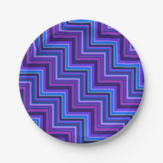Blue and purple stripes stairs 7 inch paper plate