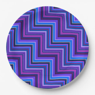 Blue and purple stripes stairs 9 inch paper plate