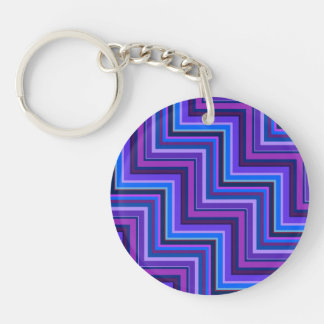 Blue and purple stripes stairs Double-Sided round acrylic key ring