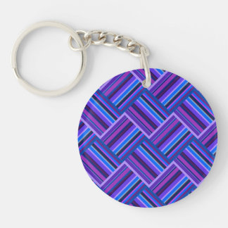 Blue and purple stripes weave key ring