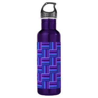 Blue and purple stripes weave pattern 710 ml water bottle