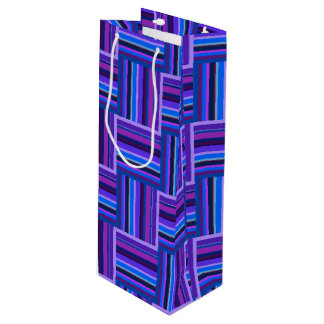 Blue and purple stripes weave pattern wine gift bag