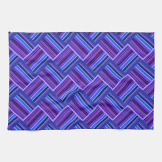 Blue and purple stripes weave tea towel