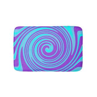 Blue and purple swirl pattern bath mats