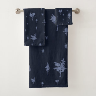 Blue and Purple Trees Bath Towel Set
