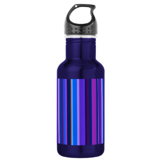 Blue and purple vertical stripes 532 ml water bottle
