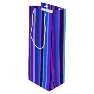 Blue and purple vertical stripes wine gift bag