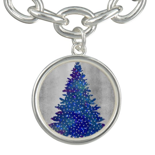 Blue and Purple Watercolor Christmas Tree