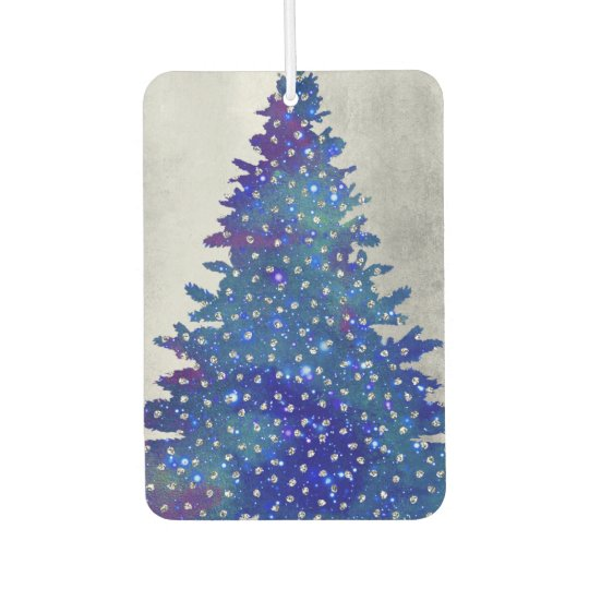 Blue and Purple Watercolor Christmas Tree Car Air Freshener