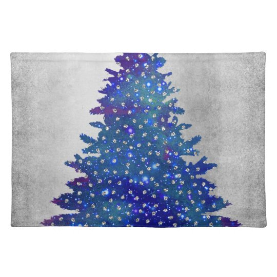 Blue and Purple Watercolor Christmas Tree Placemat