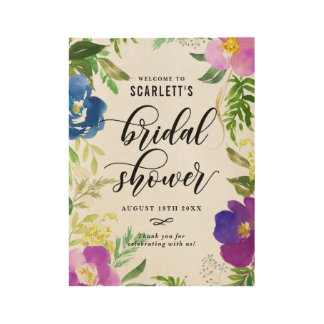 Blue and Purple Watercolor Flowers Bridal Shower Wood Poster