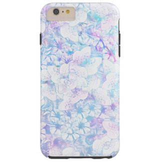 Blue and Purple Watercolor Flowers Floral Tough iPhone 6 Plus Case