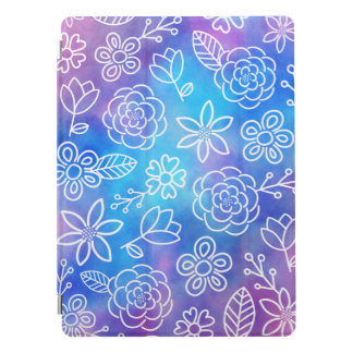 Blue and Purple Watercolor with Doodled Flowers iPad Pro Cover