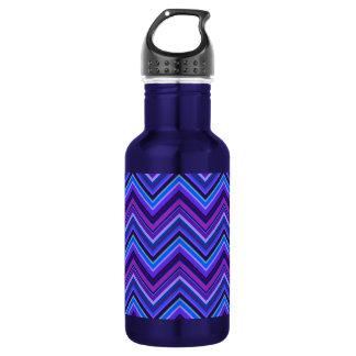 Blue and purple zigzag stripes 532 ml water bottle
