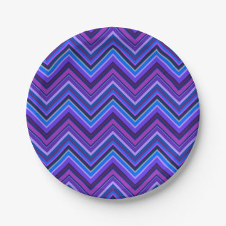 Blue and purple zigzag stripes 7 inch paper plate