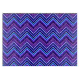 Blue and purple zigzag stripes cutting board