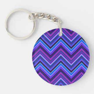 Blue and purple zigzag stripes Double-Sided round acrylic key ring