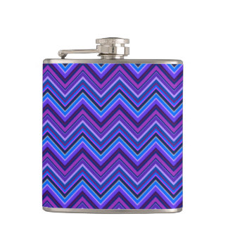 Blue and purple zigzag stripes hip flask