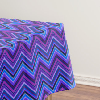 Blue and purple zigzag stripes tablecloth
