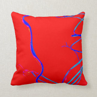 """""""BLUE AND RED"""" ABSTRACT TOSS PILLOW CUSHION"""