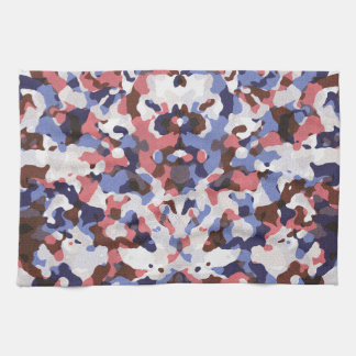 Blue and red camouflage pattern tea towel