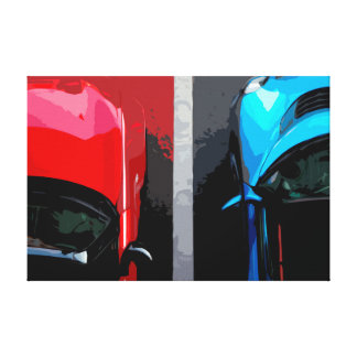 Blue and Red Cars Side By Side on a Street Canvas