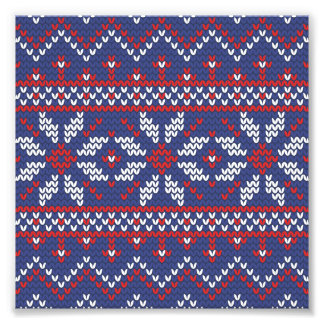Blue and Red Christmas Abstract Knitted Pattern Photo Print