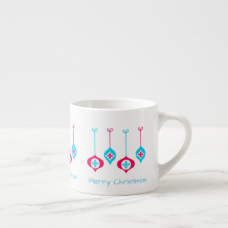 Blue And Red Christmas Ornaments Merry Christmas Espresso Cup